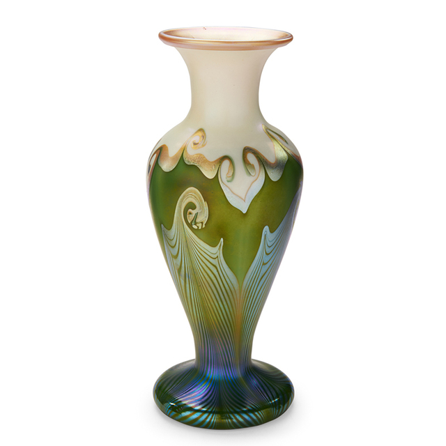 Quezal, 'Baluster Vase With Pulled-Feather Pattern, New York', Early 20th C., Rago/Wright