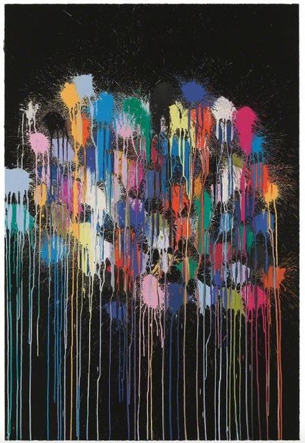 Ian Davenport, 'Colour Splat Cloud (black)', 2017, Upsilon Gallery