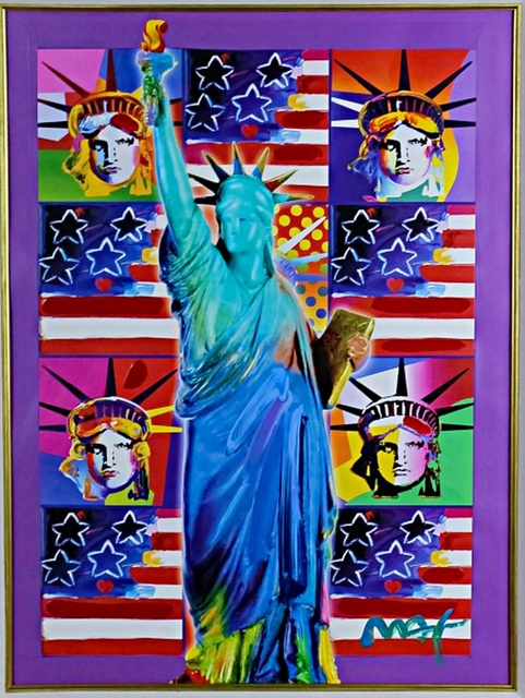 Peter Max, 'United We Stand: Four Statues of Liberty with Blue Statue of Liberty', 2001, Alpha 137 Gallery