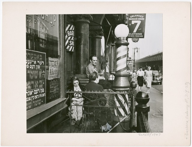 , 'Barbers, Delancy Street, NYC ,' 1947, Be-hold