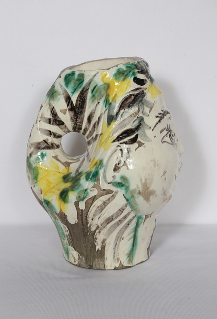 Pablo Picasso, 'Woman's Head, Decorated with Flowers', 1954, Design/Decorative Art, White earthenware clay, grey patina, RoGallery