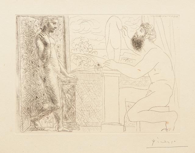 Pablo Picasso, 'Sculpteur et son modèle devant une fenêtre (Sculptor and his Model in Front of a Window), plate 59 from La suite Vollard', 1933, Phillips