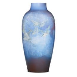 Monumental special-order Iris Glaze vase with egrets, Cincinnati, OH
