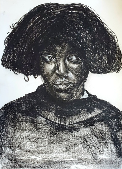 Otis Kwame Kye Quaicoe, 'Tracy', 2020, Drawing, Collage or other Work on Paper, Charcoal and oil on paper, Unit London