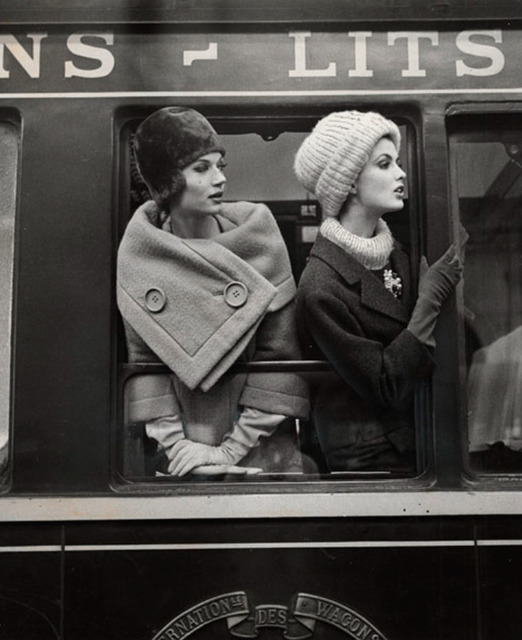 , 'Simone D'Aillencourt and Dorothea McGowan at train window,' ca. 1960, CAMERA WORK