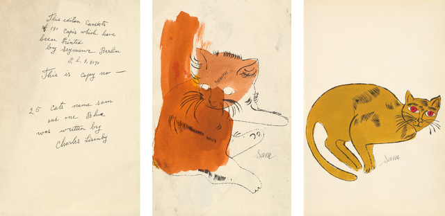 Andy Warhol, '25 Cats Name(d) Sam and One Blue (Pussy) book: two plates and colophon page', 1954, Print, Three lithographs, two with extensive hand-coloring and one colophon page, on laid paper, the sheets trimmed along the left sheet edge., Phillips