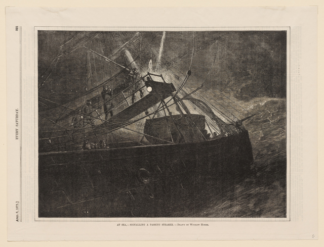 , 'At Sea—Signaling a Passing Steamer,' 1871, Clark Art Institute