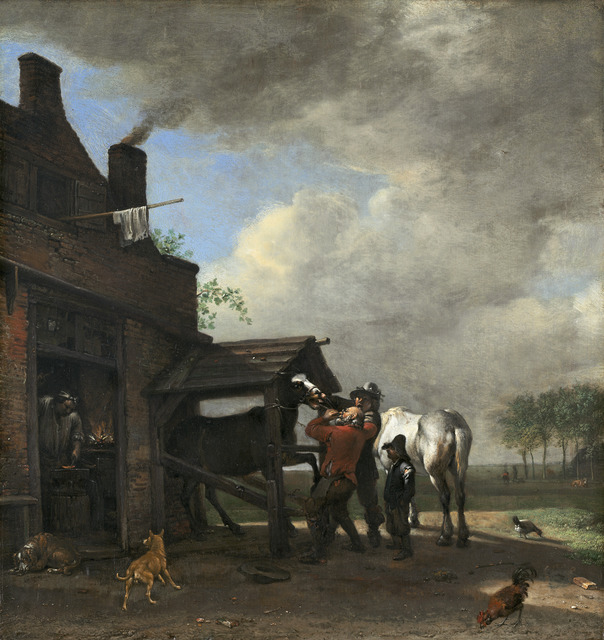 Paulus Potter, 'A Farrier's Shop', 1648, Painting, Oil on panel, National Gallery of Art, Washington, D.C.