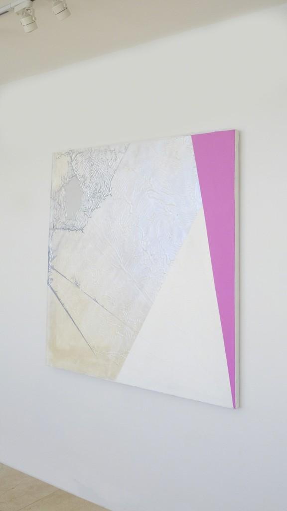 Julie Davidow Diagram #26 (Parrot Origami/ Sarah Morris)  Gesso, acrylic, latex enamel, interference pigment, chrome paint on canvas 48 x 48 Price upon request