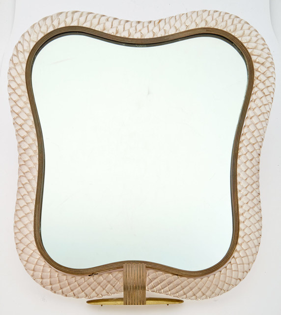 'Venini Murano Glass and Brass Table Mirror', Doyle