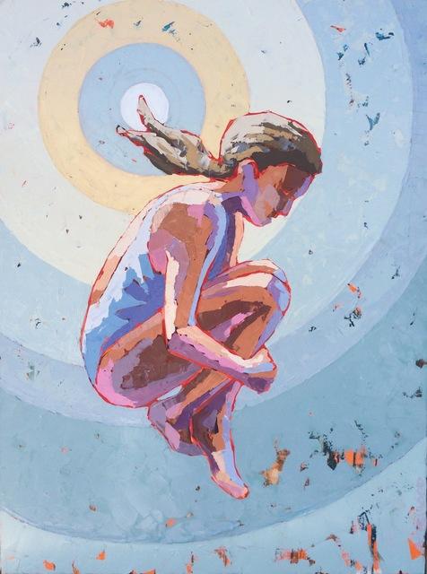 ", '""Sunsplash"" Painterly Impasto, Light Blue, Yellow Purple Target with Swimmer,' 2010-2017, Eisenhauer Gallery"