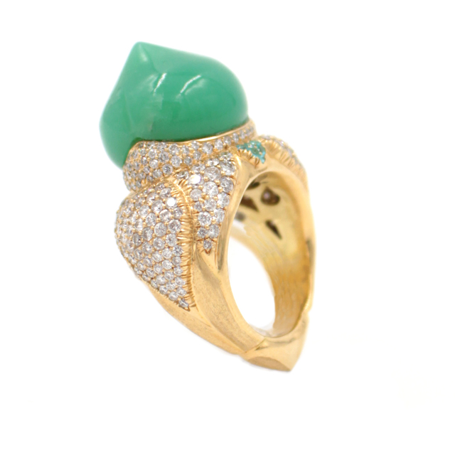 , 'Australian Chrysophrase Paraiba Tourmaline Diamond Gold Taj Mahal Ring,' , form & concept