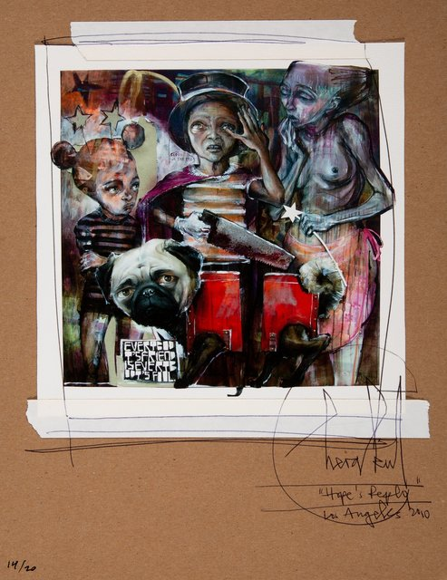 Herakut, 'Hope's Reply', 2010, Mixed Media, Mixed media on card, Heritage Auctions