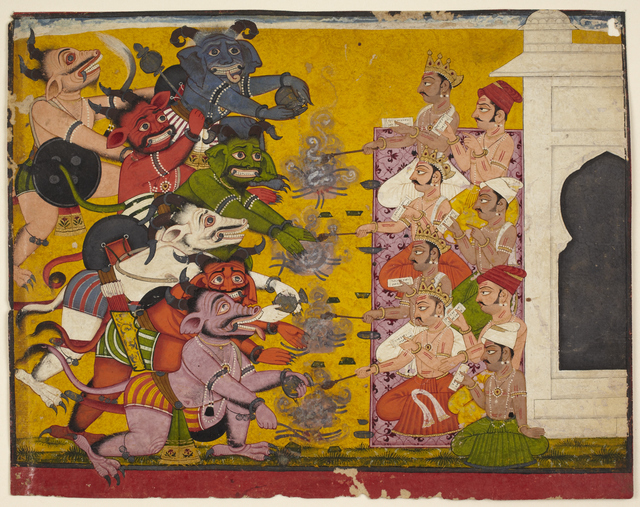 , 'Deities and Demons Performing the Yajna Sacrifice from the Devi Mahatmya,' 18th century, Princeton University Art Museum