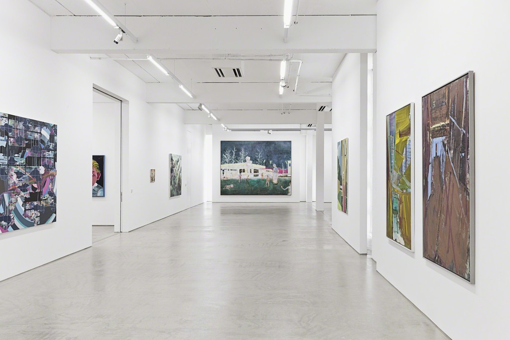 G2 #1 installation view with paintings by (fr. le. to ri.) Tobias Lehner, sebastian Gögel, Matthias Weischer, Tilo Baumgärtel, Daniel Richter, Christian Brandl and Jörg Ernert, photo: Dotgain.info © the artists & G2 Kunsthalle, Leipzig.