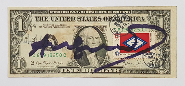 Andy Warhol, 'One Dollar Bill', 1984, Other, Mixed media on one dollar bill, postage stamp, Galerie Andreas Binder