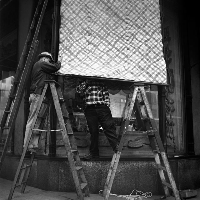 """Vivian Maier, 'VM1953W03390-01-MC - New York, NY, November 19, 1953, Men Working on Awning, 12"""" X 12""""', Printed 2017, KP Projects"""