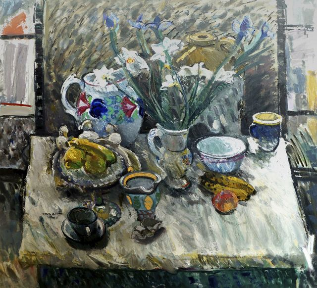 John Boyd, 'Still life with flowers in a vase, fruits, and cups and bowls', Roseberys