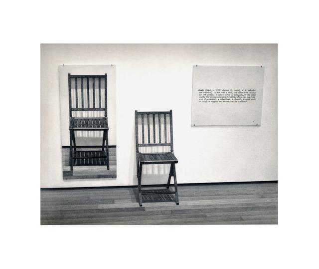 ", 'Formalizing their concept: Joseph Kosuth's ""One and Three Chairs"", 1965,' 2013, Josée Bienvenu"