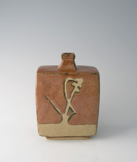 , 'Squared bottle, kaki glaze with wax resist brushwork,' 1965, Pucker Gallery
