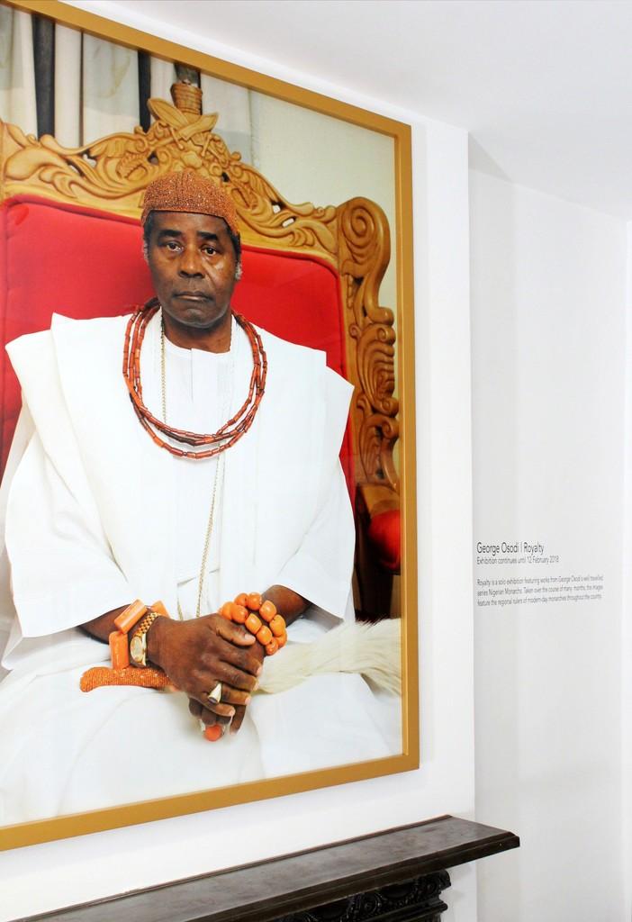 Installation shot - HRM Ogiame Atuwatse II, The Olu of Warri (2012) by George Osodi at the show George Osodi | Royalty