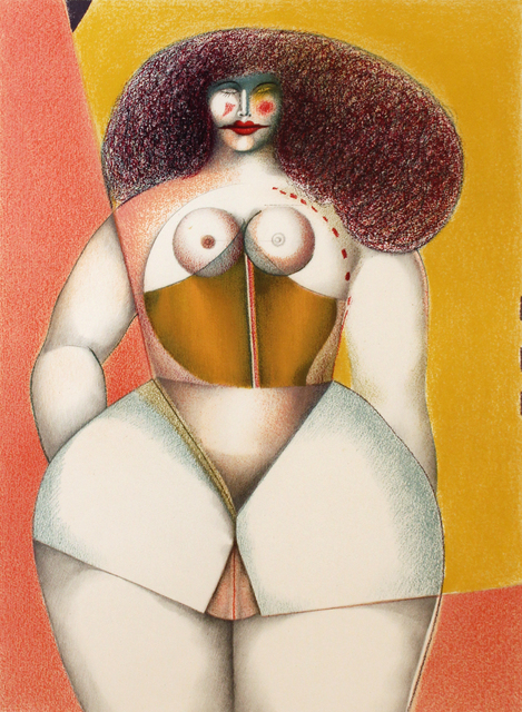 Richard Lindner, 'Untitled (Nude with Yellow Background)', 1975, Robert Berman Gallery