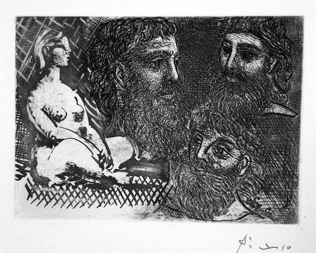 Pablo Picasso, 'Femme Nue Assise et Trois Tetes Barbues', 1934, Print, Etching, drypoint, burin, aquatint, Harris Schrank Fine Prints