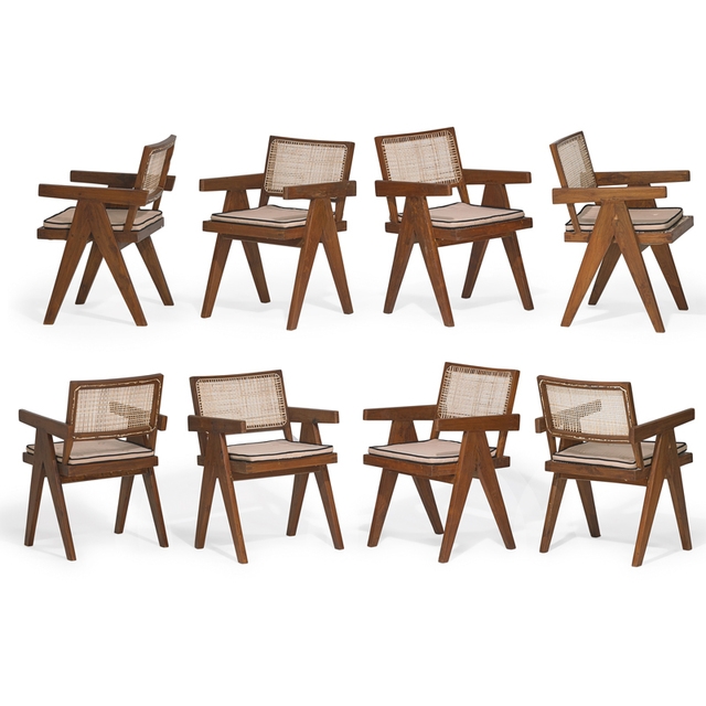 Pierre Jeanneret, 'Eight V-leg arm chairs from the Chandigarh administrative buildings, France/India', Rago/Wright