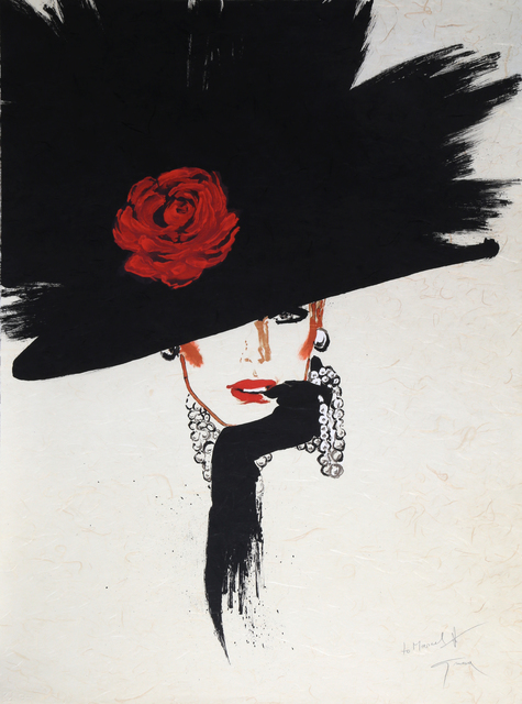 René Gruau, 'Woman in a Rose Hat', ca. 1990, Print, Lithograph, RoGallery