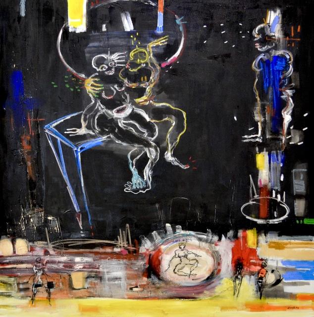Dominique Zinkpè, 'Les copains du soir', 2019, Painting, Mixed media on canvas, Dyman Gallery