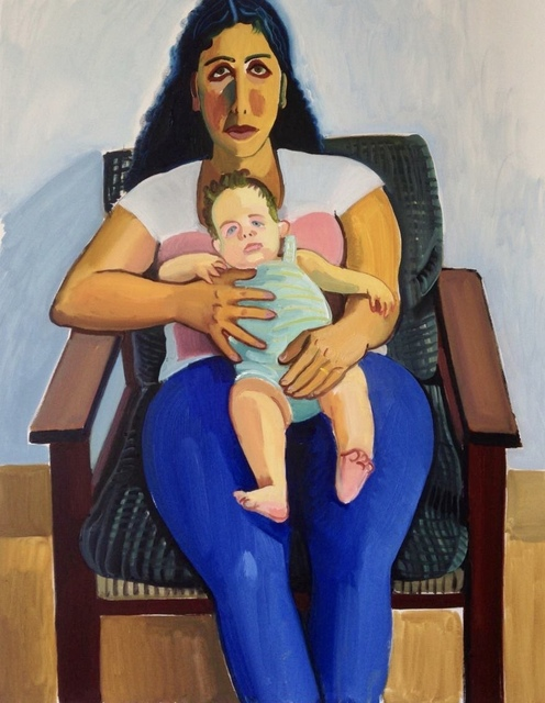 Anna Lukashevsky, 'Meital and her baby', 2013, Painting, Oil on canvas, TJ Boulting