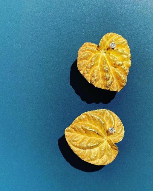 , 'Yellow Gold and Diamond 'Cyclamen' Earrings,' 1971, Grima