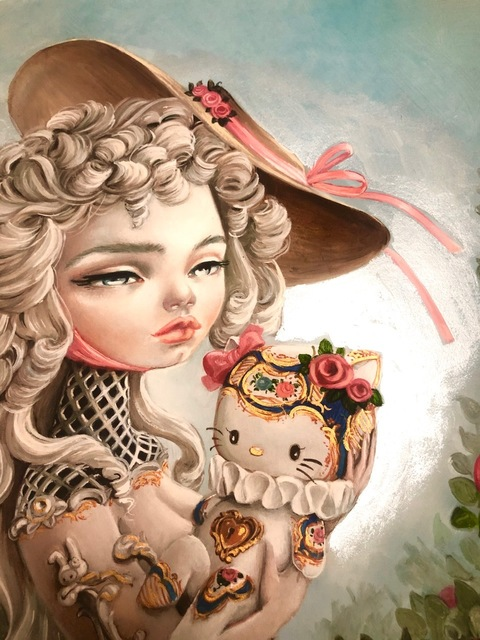 """Kukula, '""""Rocokitty"""" embellished print', 2019, Print, Hand embellished giclee print with pearl and gold acrylic paint and powder glitter on Rives BFK paper, Haven Gallery"""