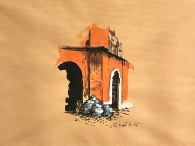 Guiyome, 'Corner - Rome', 2016, Drawing, Collage or other Work on Paper, Acrylic and ballpoint pen on paper, Collezionando Gallery