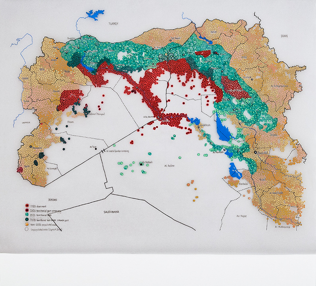 , 'Global Coalition – mapping a conflict without border: areas of influence in Syria and Iraq,' 2017, Tyler Rollins Fine Art