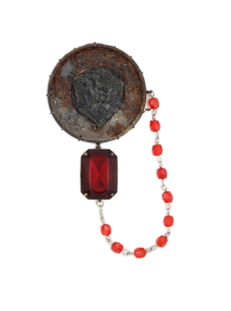 , 'Rust/Onyx/Red Bead Brooch,' 2017, form & concept