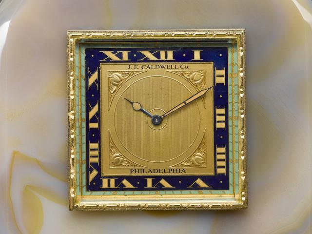 J.E. Caldwell, 'ONYX & ENAMEL DESK CLOCK BY J.E. CALDWELL', ca. 1920,  M.S. Rau