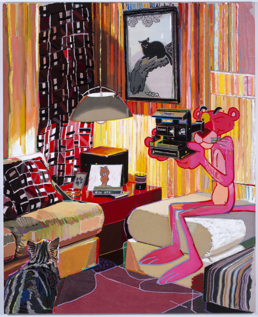 Leon Benn, 'Panther's Pad', 2019, Painting, Oil, oil pastel and fabric dyes on Moroccan linen, David B. Smith Gallery