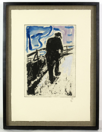 Man Walking Up a Snowy Slope, 2011