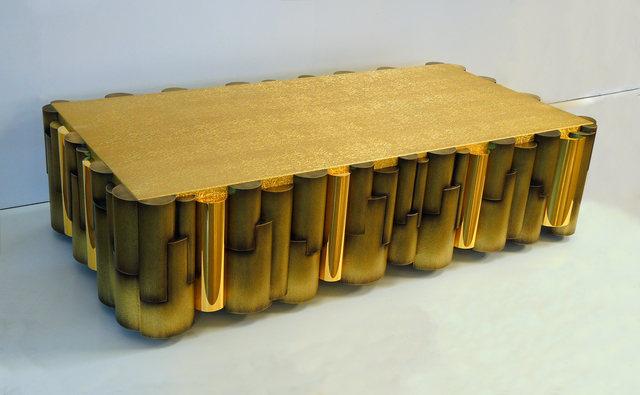, 'Low Cilindros Rectangular Table in Bronze and 24k Gold Plated Metal,' 2016, Garrido Gallery