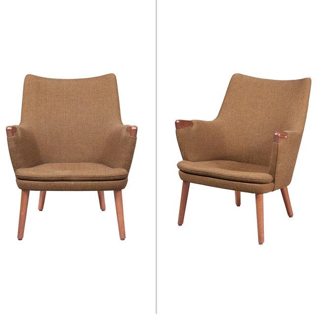 'Pair of Hans Wegner Upholstered Teak Model AP 20 Armchairs', Doyle