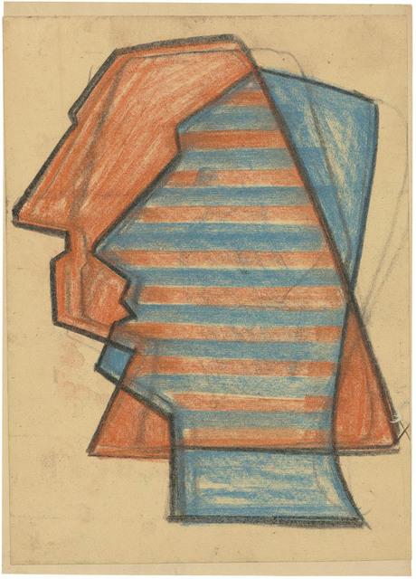, 'Roter und blauer Profilkopf, schematisch,' 1952, Galerie Doebele