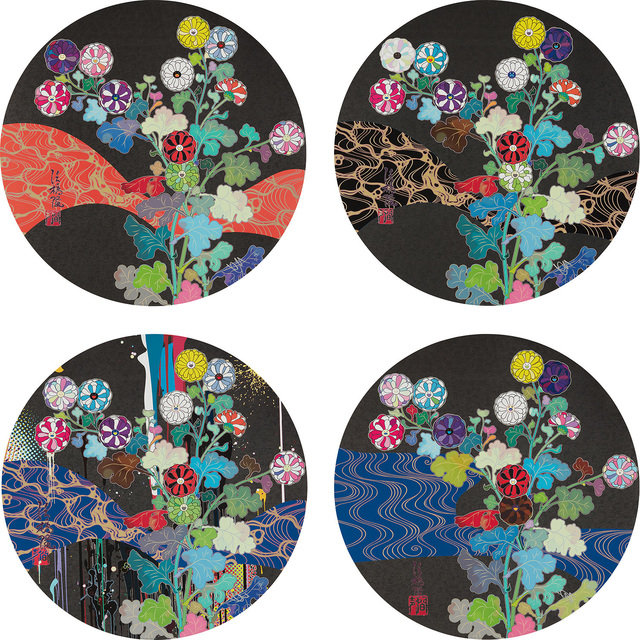 Takashi Murakami, 'A Red River is Visible; Kansei: Wildflowers Glowing in the Night; Kōrin: Stellar River in the Heavens;  Kōrin: Azure River', 2014-2015, Phillips