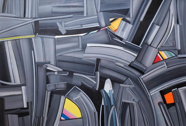 "Amit Kalla, 'Abstract Painting, Acrylic on canvas, Black, Red, Yellow by Amit Kalla ""In Stock""', 2019, Gallery Kolkata"