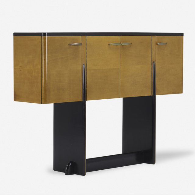 Kem Weber, 'sideboard', c. 1930, Design/Decorative Art, Birch veneer, lacquered wood, brass, Rago/Wright