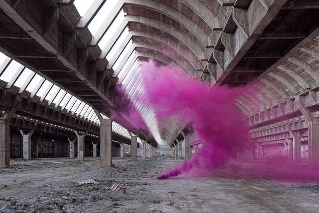 Isabelle & Alexis, 'Andalousie - A purple smoke bomb sculpts itself to fit the architecture of an abandoned factory in Spain', 2016, B Lounge Art