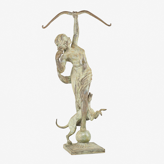 After Anna Hyatt Huntington, 'Diana of the Chase', ca. 1922, Sculpture, Painted zinc with added patina, Rago/Wright
