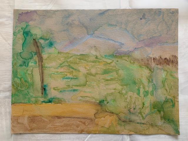 Lj., 'impression after Montagne Sainte-Victoire', 2021, Painting, Watercolor on tan canvas, 917 Fine Arts