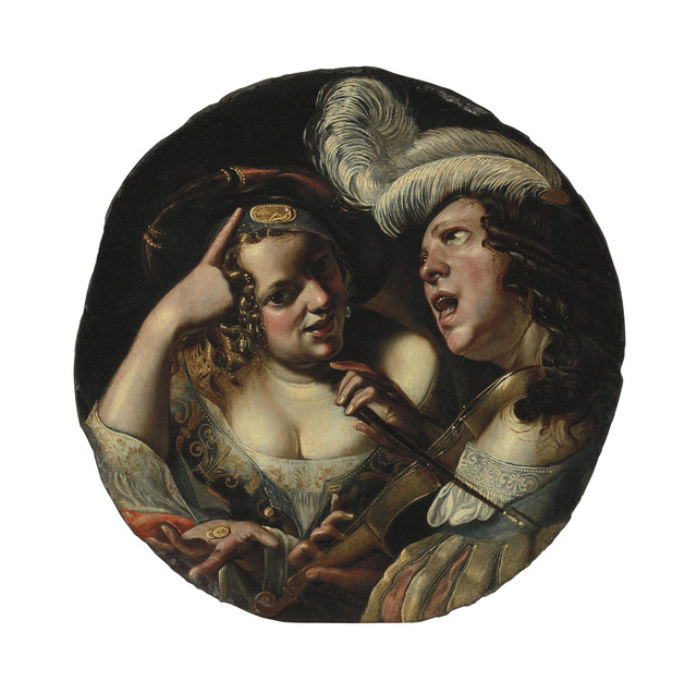 , 'A woman with coins and a man making music and singing,' , Christie's Old Masters