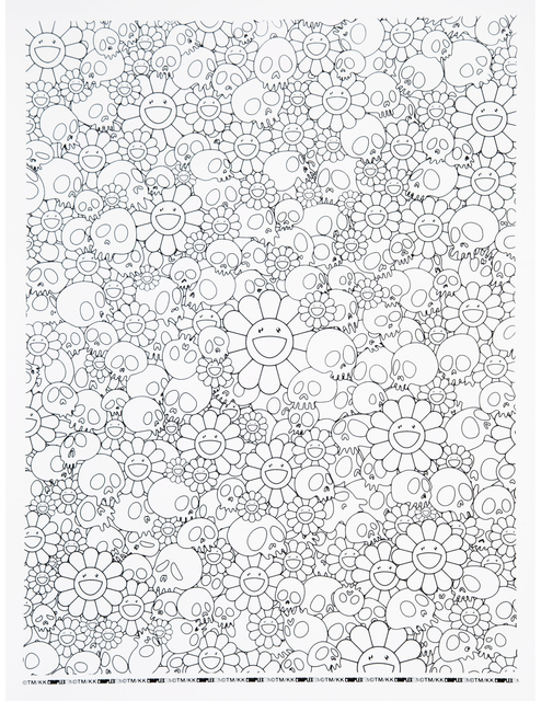 Takashi Murakami, 'Skulls and Flower Print (With Plastic Plate)', 2018, Print, Screenprint on Paper, Curator Style